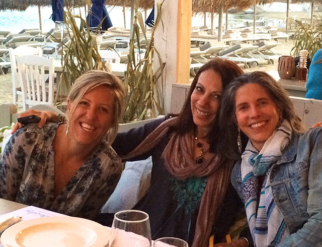 Dinner in Mykonos Greece on a luxury yoga retreat with Yoga Escapes.
