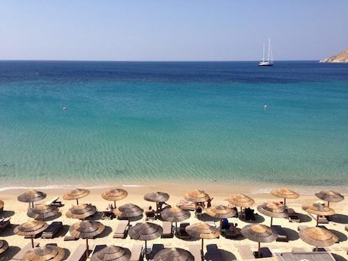 elia beach in mykonos greece with yoga escapes