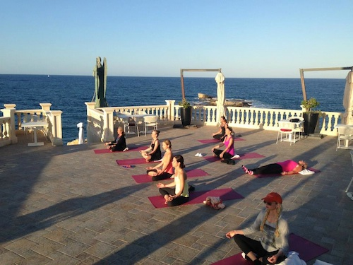 Yoga on our terrace in Sicily.