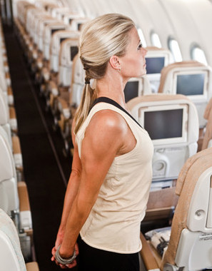 stretching on an airplane