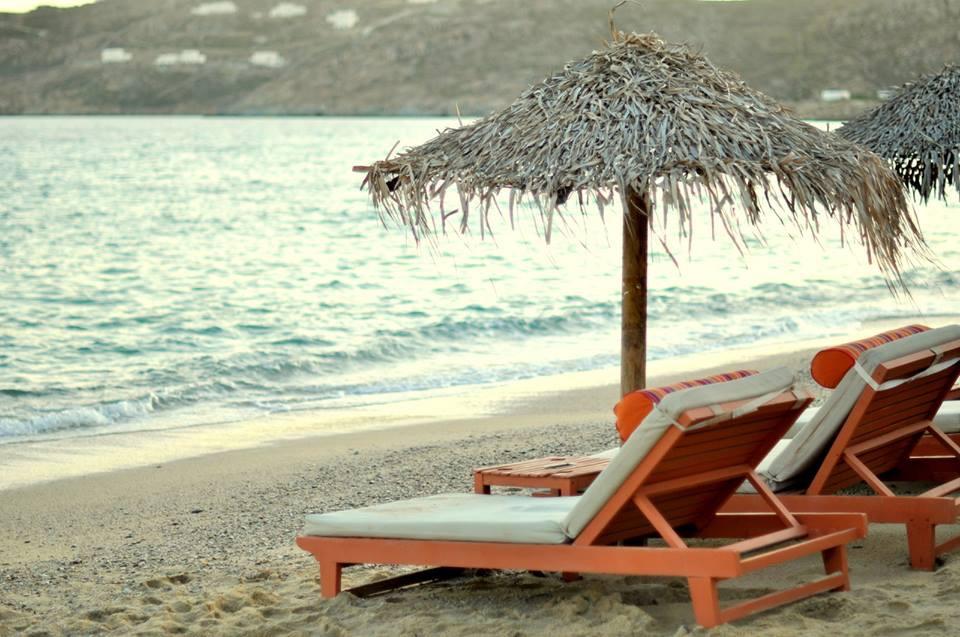 beach at dusk in mykonos greece