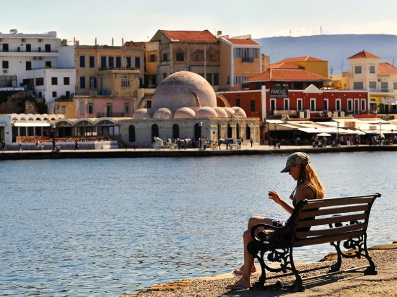 view of chania town crete greece
