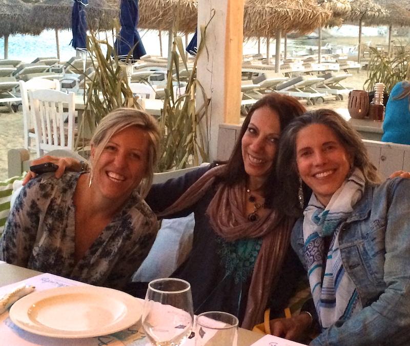 mykonos yoga retreat dinner in ornos beach