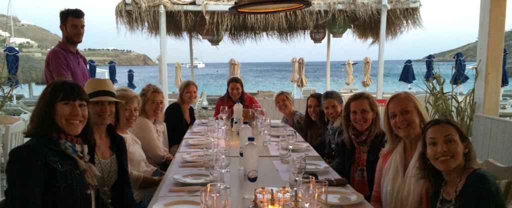 dinner on a yoga retreat in mykonos greece