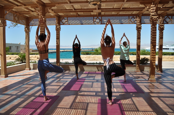 tree pose in egypt on a luxury yoga retreat
