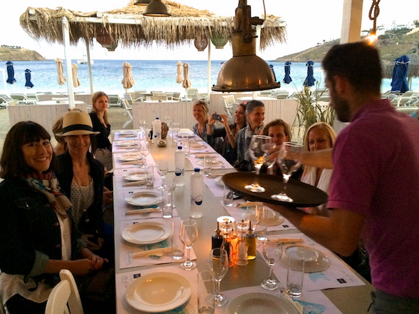 dinner in mykonos town with yoga escapes