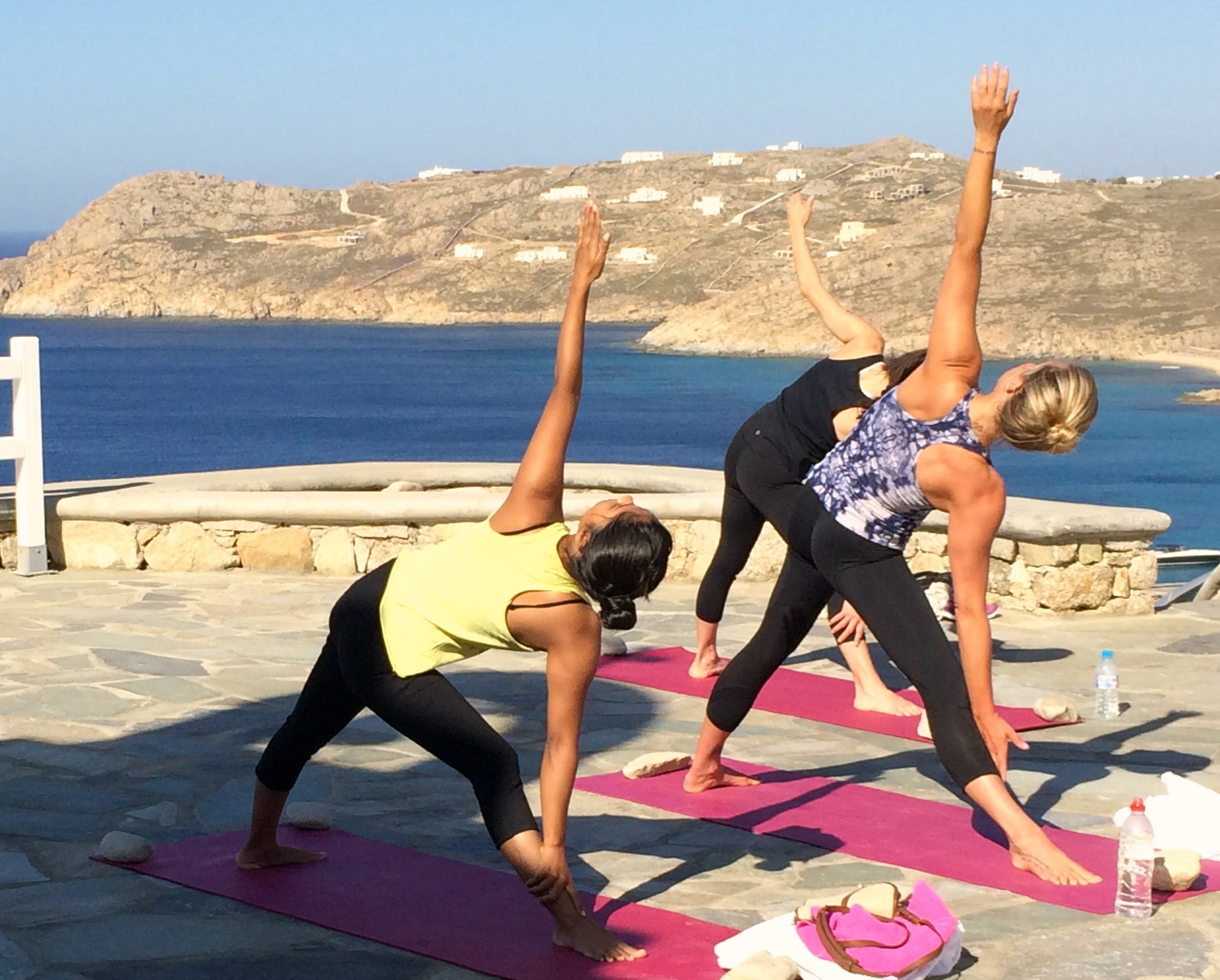 vinyasa flow yoga class in mykonos greece