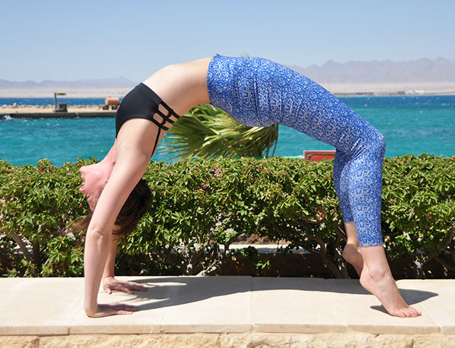 Bridge pose in Egypt on a luxury yoga retreat with Yoga Escapes.