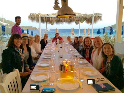 group dinner at ornos mykonos greece yoga retreat
