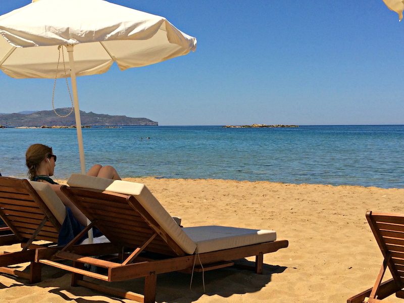 relaxing on the beach in crete