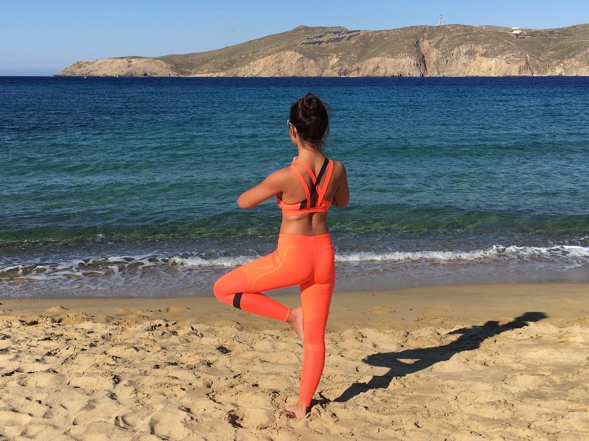 Yoga pose in Mykonos Greece on a luxury yoga retreat with Yoga Escapes.