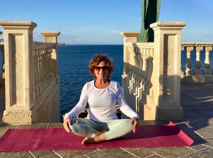yoga on our terrace on a yoga retreat in italy