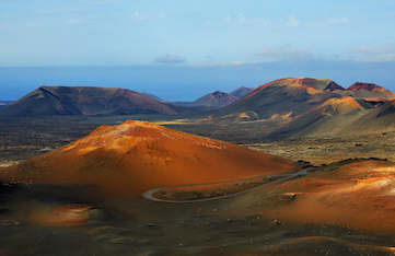 Day trip to Timanfaya National Park Lanzarote, Canary Islands, on a yoga holiday.