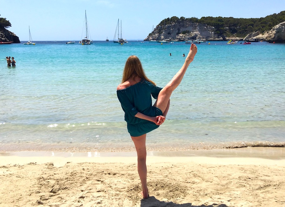 yoga on the beach in menorca spain